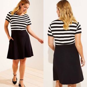 LOFT PLUS STRIPED TOP POCKET FLARE DRESS 26